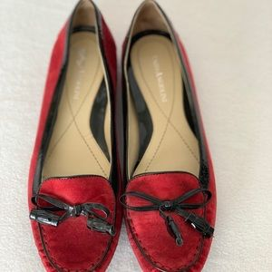 Red suede flats